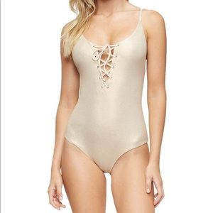 New Monahan One Piece Swimsuit Glossy Pique Sz S